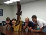 Jay Bowman's carved-wood Hawk at Hickory High School - photograph
