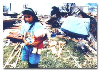 Photo of child after disaster