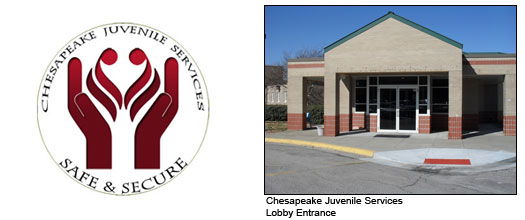 Chesapeake Juvenile Services front entrance with logo to the left