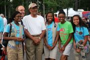 Former Mayor Ward and current Mayor Krasnoff with Girl Scouts