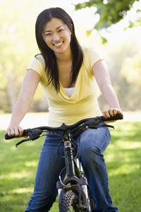 Woman on a bike - photograph
