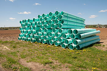 Sewer Pipes in Field