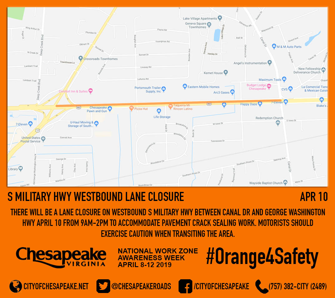 S Military Hwy westbound lane closure