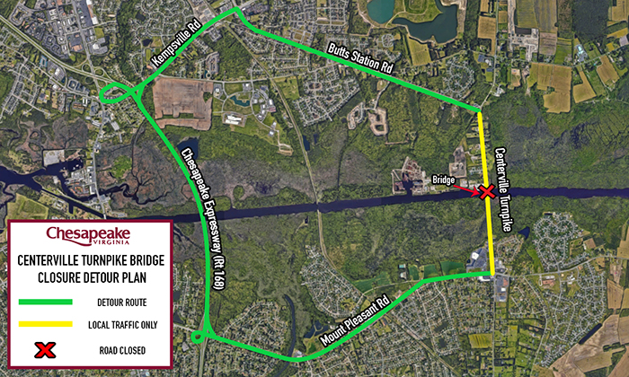 20190513 - Centerville Turnpike Closure Detour Map