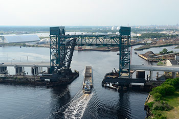 The all new Gilmerton Bridge, open for marine traffic