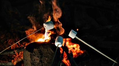 Marshmallows being roasted on a fire