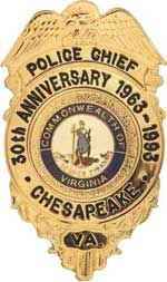 Chesapeake Police Department 30th Anniversary Badge