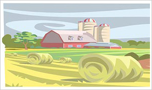 graphic image - farm and harvested field